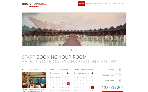 Bootstrap minimal Hotel